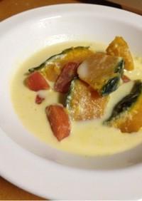 南瓜と人参の豆乳スープ(無水鍋QC使用)