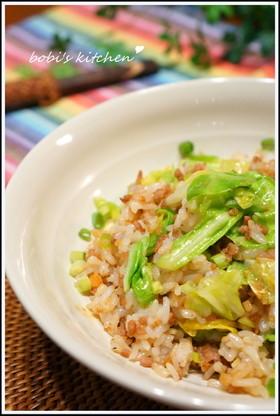✿ 春キャベツと挽肉の炒飯✿