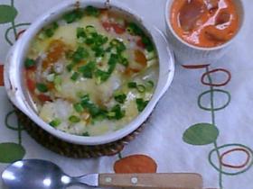 トマトと豆腐の長芋グラタン