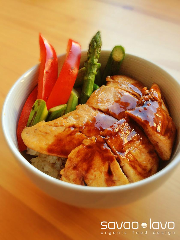 焼き野菜と薄焼きささみのてりやき丼