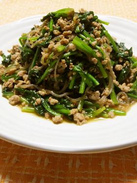 法蓮草と豚ひき肉と糸こんにゃくの炒め物