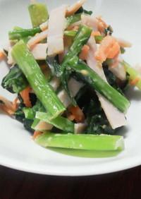 小松菜とハムのごま酢和え