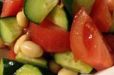 きゅうりとトマトと大豆の柚子胡椒サラダ