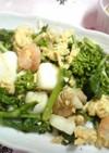 シーフードと菜の花と卵のシンプル炒め☆