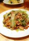 豚肉と油揚げのレタス味噌炒め