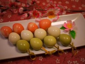 お花見弁当に♡うずらで三色団子
