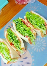簡単栄養絶賛ハムチーズレタスサンド