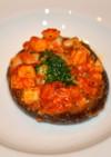 椎茸プレートにのせた新鮮魚介トマトソース