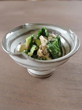 青梗菜と鶏胸肉のゴマ味噌和え