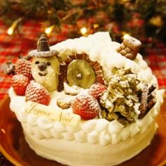 ★ホビット村の雪降るクリスマスケーキ★