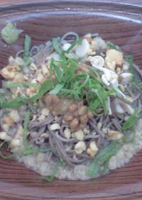 定番 山菜納豆蕎麦