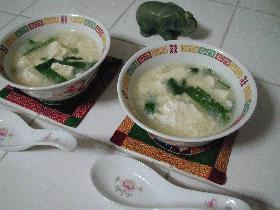 豆腐と青菜の中華風ピリカラスープ