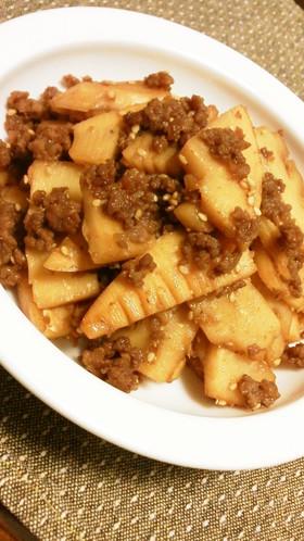 簡単お弁当にも◎筍の水煮と挽肉の甘辛炒め