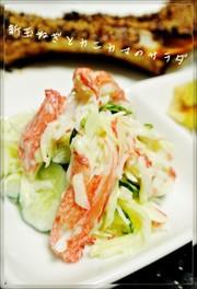 新玉ねぎとカニカマのサラダの写真