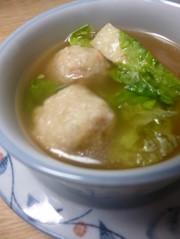 肉団子・たけのこ・サニーレタスのスープの写真