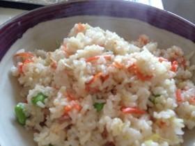 簡単ランチ:冷凍枝豆とたらこの焼き飯