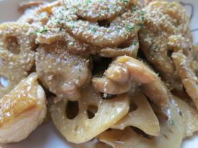 レンコンと鶏もも肉のマヨ炒め