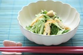 水菜と油揚げのレンチン麺つゆ煮