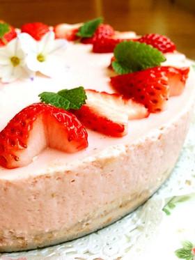 ひな祭り!話題♪絶品❤苺レアチーズケーキ