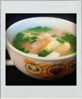 ■糖質制限■えび豆腐にら卵スープ簡単朝昼