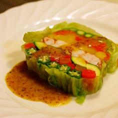 春野菜のテリーヌ 粒マスタードソース