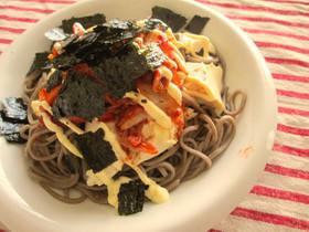 ダイエット!蕎麦にキムチマヨ豆腐のっけ♡