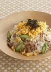 豚こま肉とアスパラの混ぜ寿司