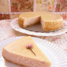 桜のチーズケーキ☆.。.:*・゜