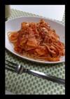 蓮根とタケノコのトマトソースパスタ