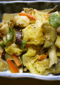 ホタテの味噌バター野菜炒め