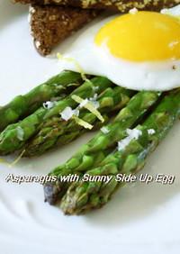 春にっアスパラガスの半熟卵のせ
