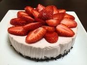母の日★苺のレアチーズケーキの写真