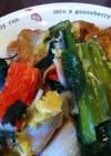 残り野菜と油麩丼