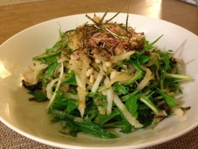 大根・水菜・ツナの居酒屋風サラダ