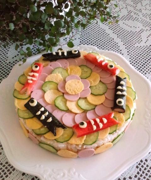 こどもの日♪楽しい♪こいのぼり寿司ケーキ