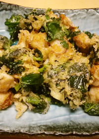 ホタテと菜の花の天ぷら