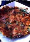 カリカリチーズと水菜のチヂミ風