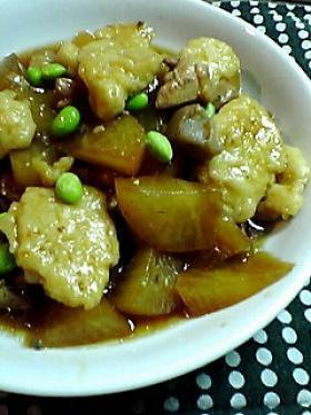 圧力鍋で大根と鶏肉の煮物inすいとん☆