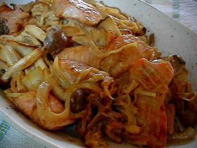 秋~☆鮭ときのこの味噌マヨ焼き♪