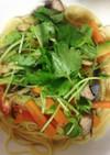 細切り野菜と鰹の温サラダカッペリーニ