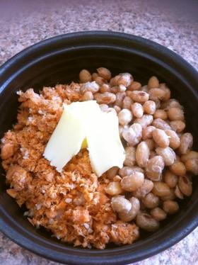 一人ご飯♪納豆と鮭フレークで塩バター丼