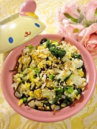 小松菜と塩こんぶの混ぜご飯
