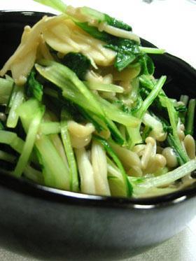 *ヘルシー美味*水菜とえのきの炒め煮*ニンニク風味*