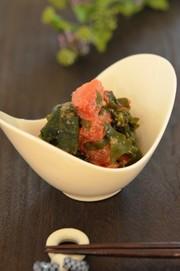 亜麻仁油でトマトと生わかめの胡麻サラダの写真