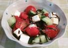 トマトと胡瓜とクリチの塩昆布サラダ♪