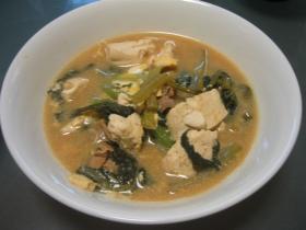 小松菜と豆腐と豚肉の卵とじ