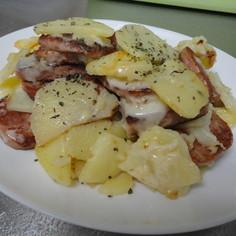 スパムとジャガイモのチーズ焼き