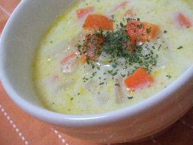 常備野菜で作る豆乳スープ