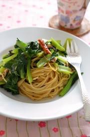 味付けは塩昆布だけ!ツナと小松菜のパスタの写真