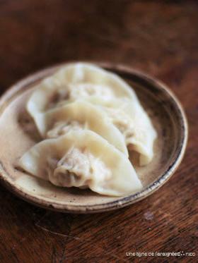 海老と搾菜の水餃子(餃子の餡レシピ)。
